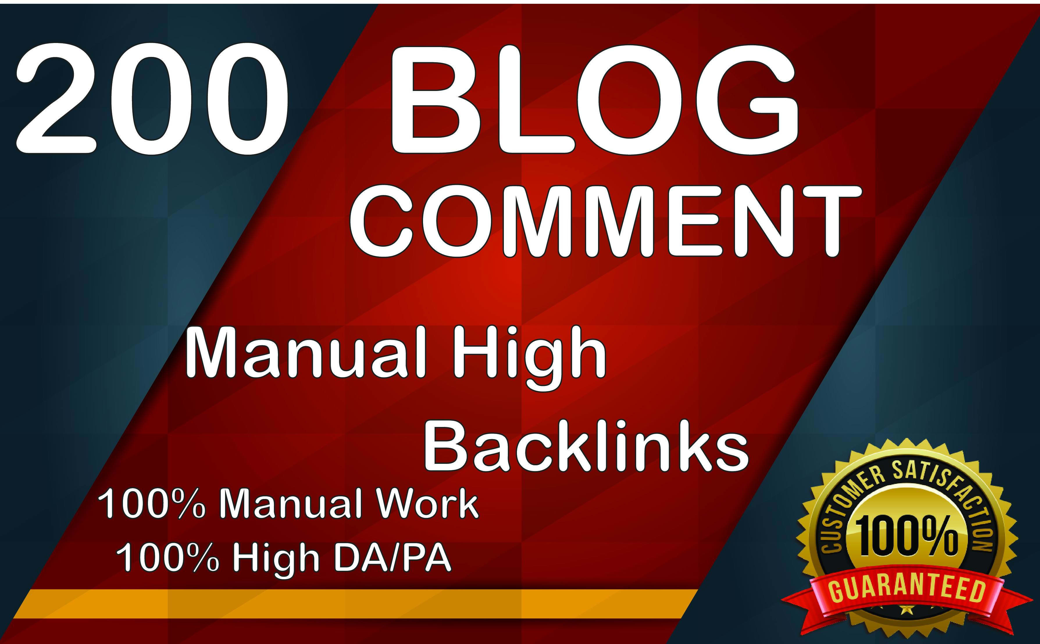 I Will Create 200 High Quality Dofollow Blog Comments and High Authority Backlinks