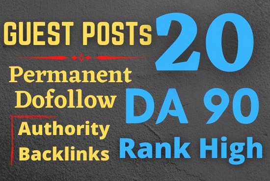 I will publish 20 high da guest post on seo blogs da 70 to 90