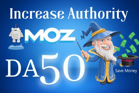 I Will Increase MOZ DA Domain Authority 50.