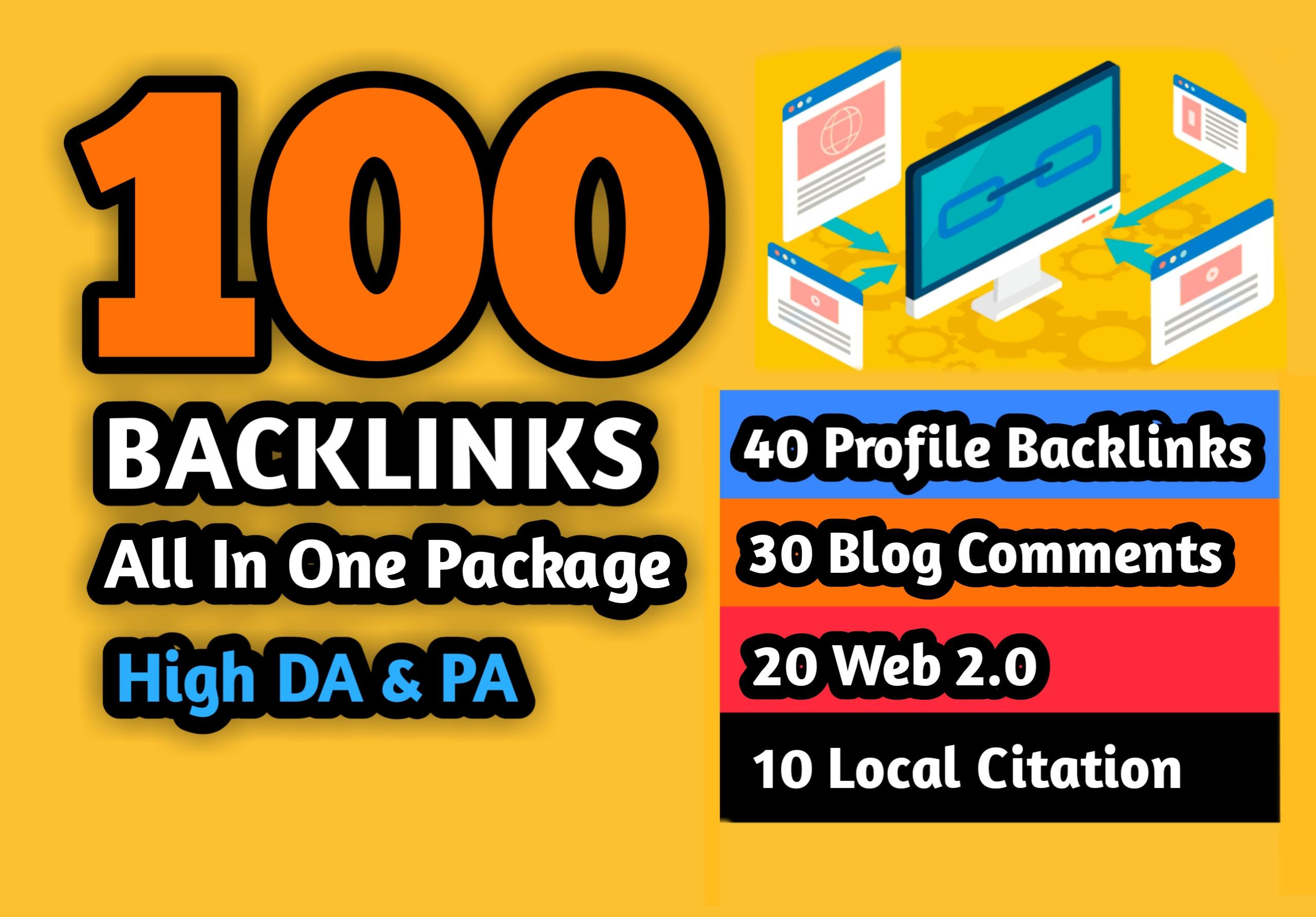 40 Profile Backlinks,  30 Blog Comments,  20 Web 2.0 & 10 Local Citation