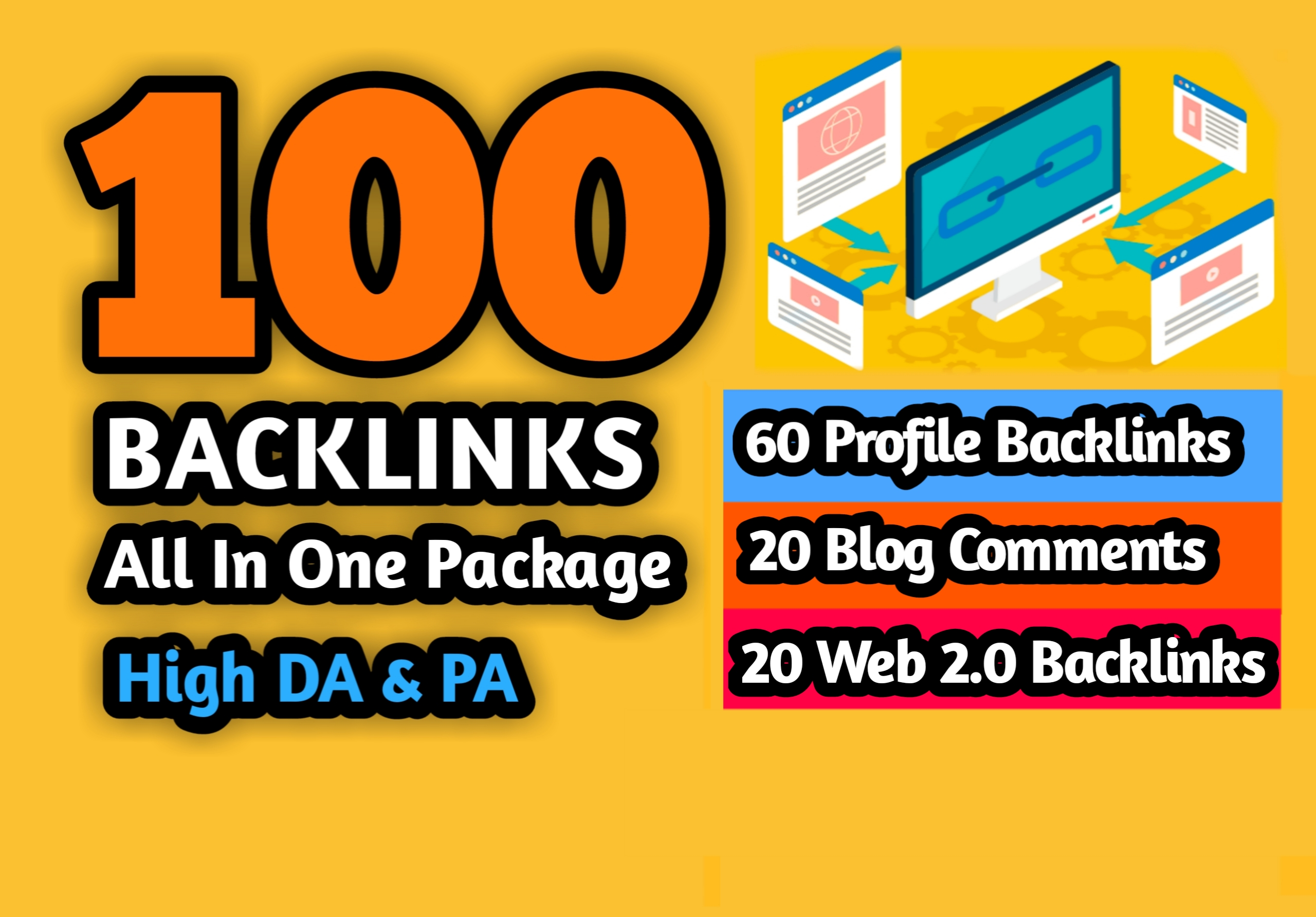 60 Profile Backlinks,  20 Blog Comments,  20 Web 2.0 Backlinks