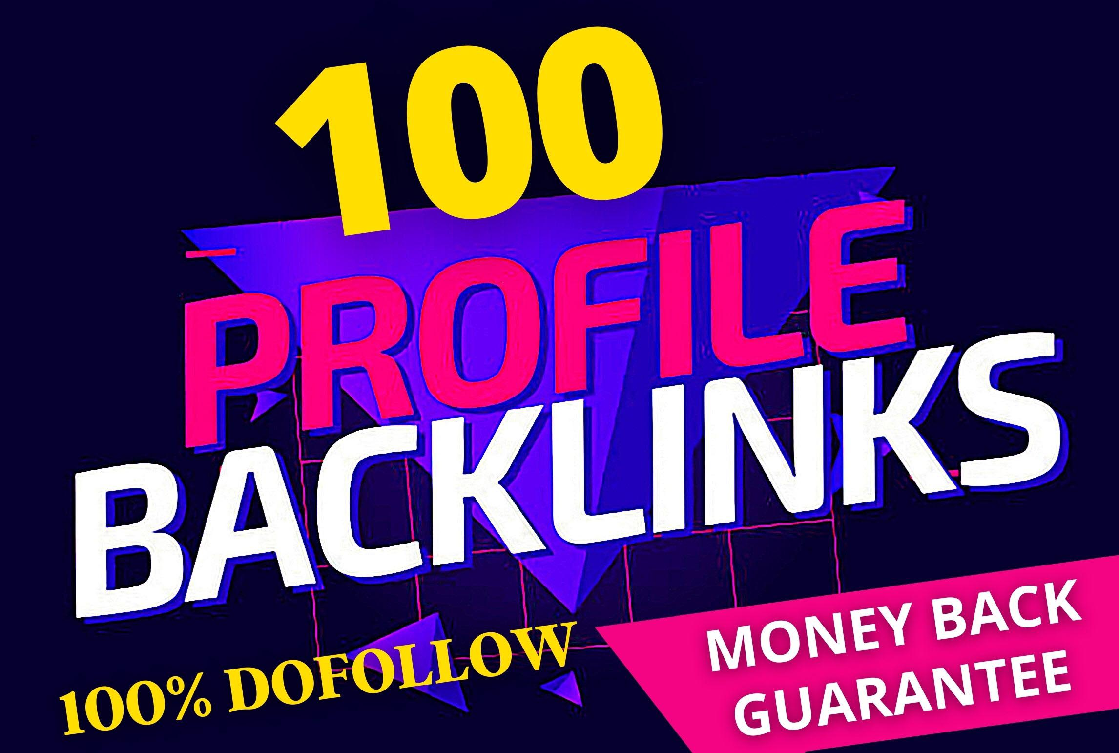 I will do 100 Dofollow 80+DA PA Pr9 Profile Backlinks creations SEO Link building
