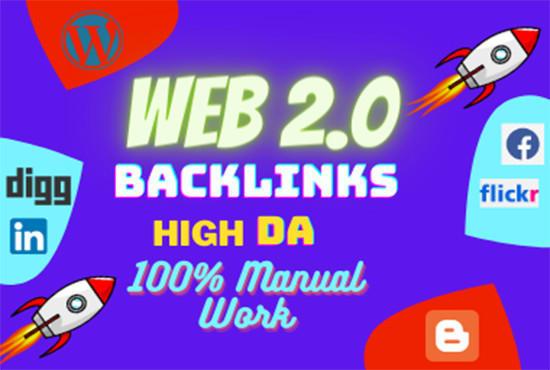 I will do 50 high quality contextual Web 2.0 blog backlinks SEO