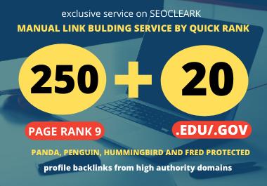 I will manually create 250 High Authority PR9 DA 60 TO 100 & 30 EDU/. GOV SEO Profile Backlinks
