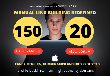 I will create 150 Pr9 + 20 Edu/Gov HQ Profile Backlinks Boost Your Website Google Ranking