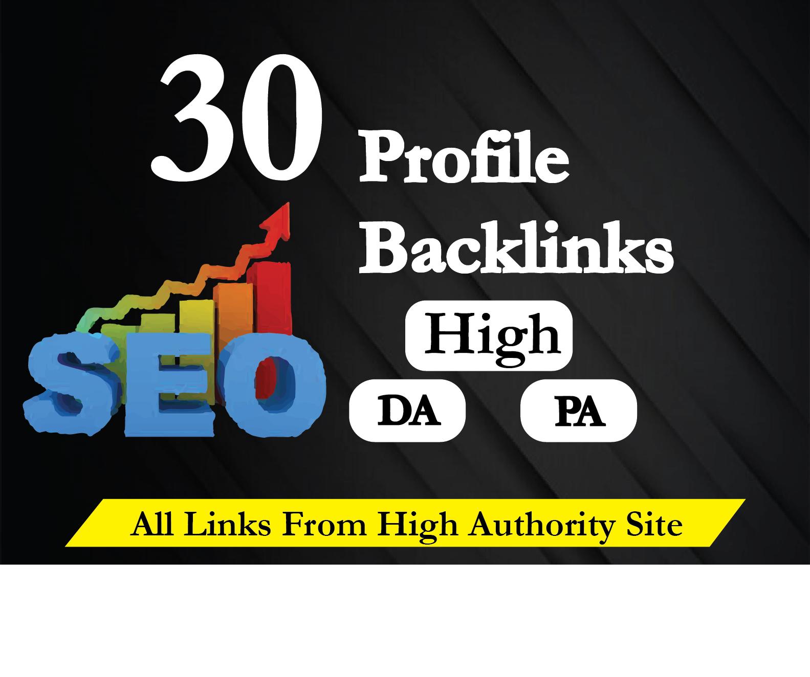 I Will Create 30 High Quality 80 DA SEO Profile Backlinks