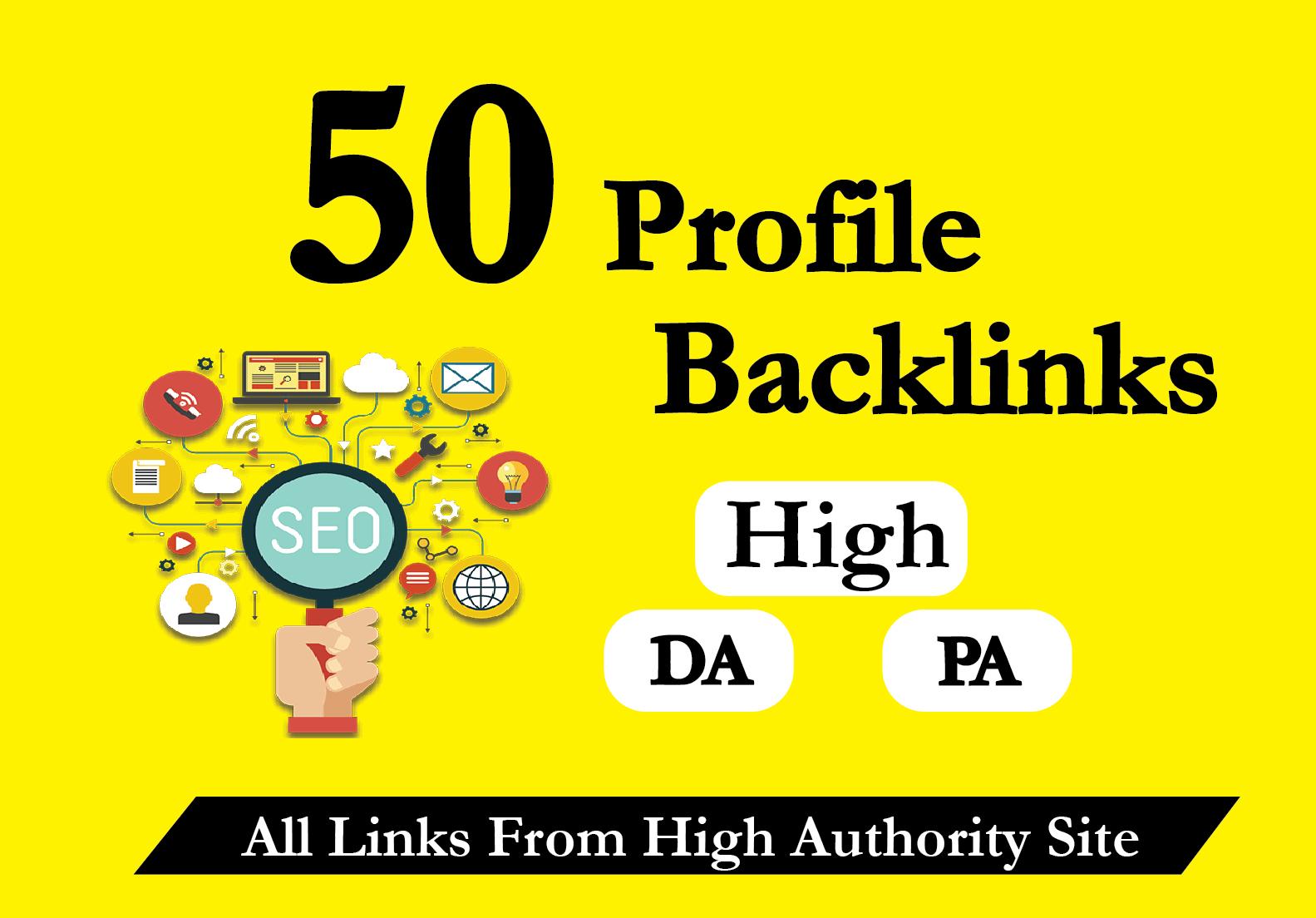 I Will Create 50 High Authority 80+ DA PA Profile Backlinks Creations Manually for SEO Ranking