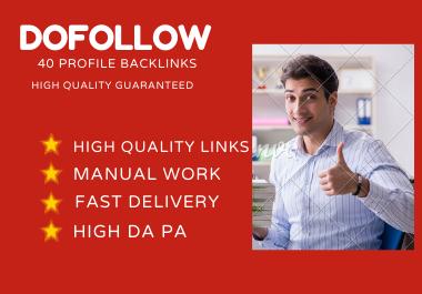 I will do manually 40 high quality profile backlinks with 80+ DA