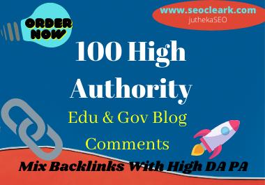 100 pr9 high quality edu & gov backlinks and blog comments