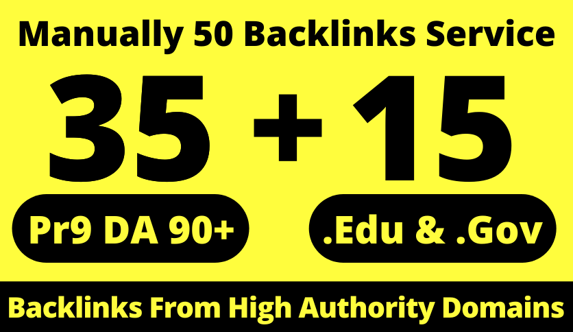 35 Pr9 + 15 Edu/Gov Dofollow DA 90+ SEO Safe Profile Backlinks 2021 Best Results