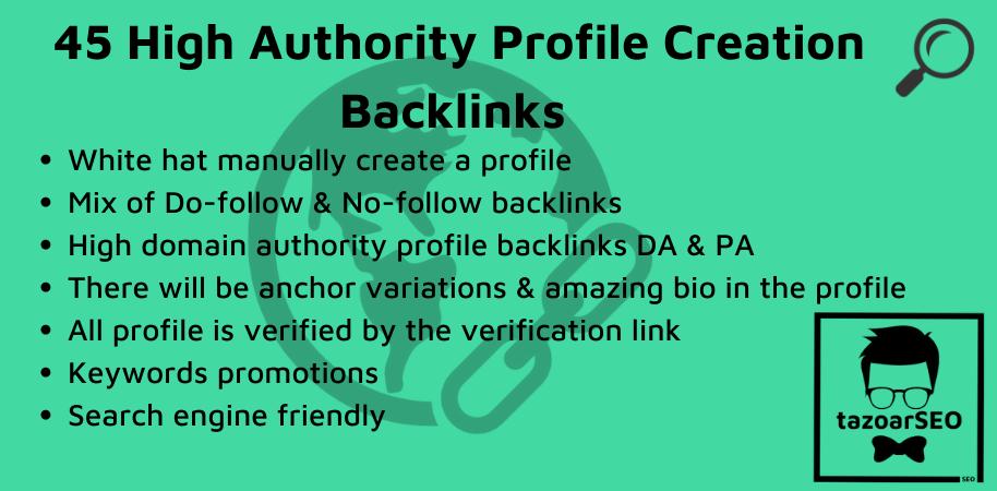 I'll create manually 45 High DA 80 Profile Backlinks