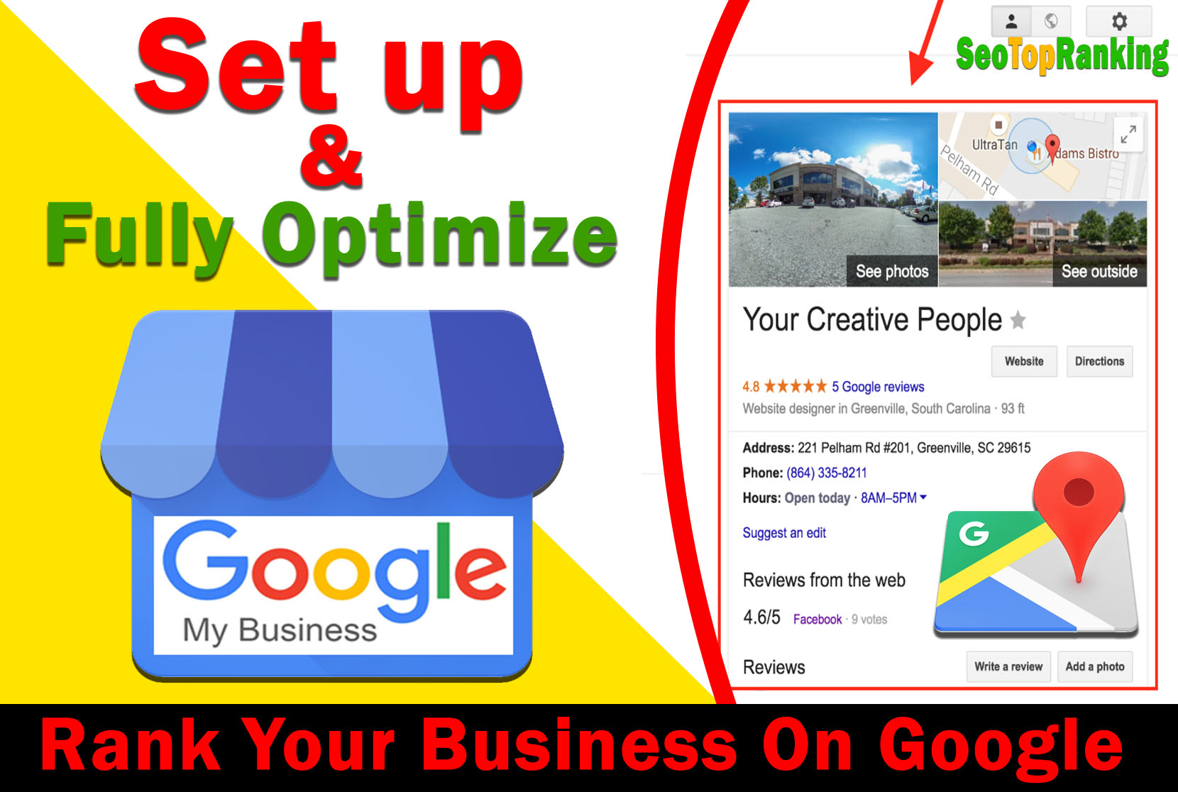 Setup Google My Business,  Fully Optimize And Improve GMB Listing Rank