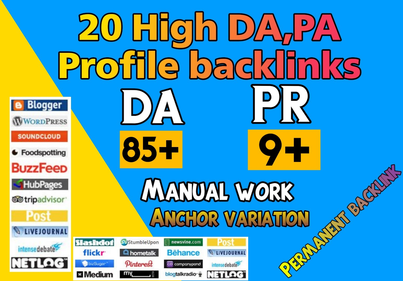 Effective 20 dofollow High DA PA Profile backlinks