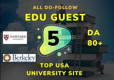 I will create 5 edu Guest Post DA80+ PR9 dofollow permanent links