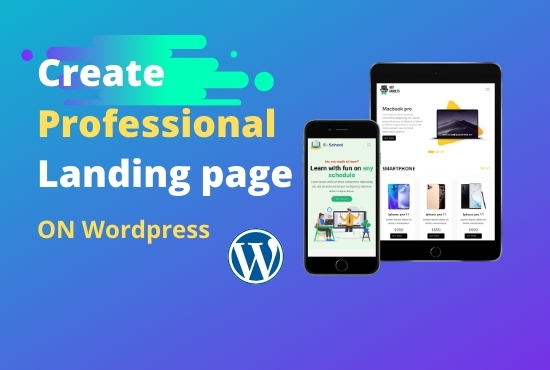 I will create Professional responsive landing page on wordpress