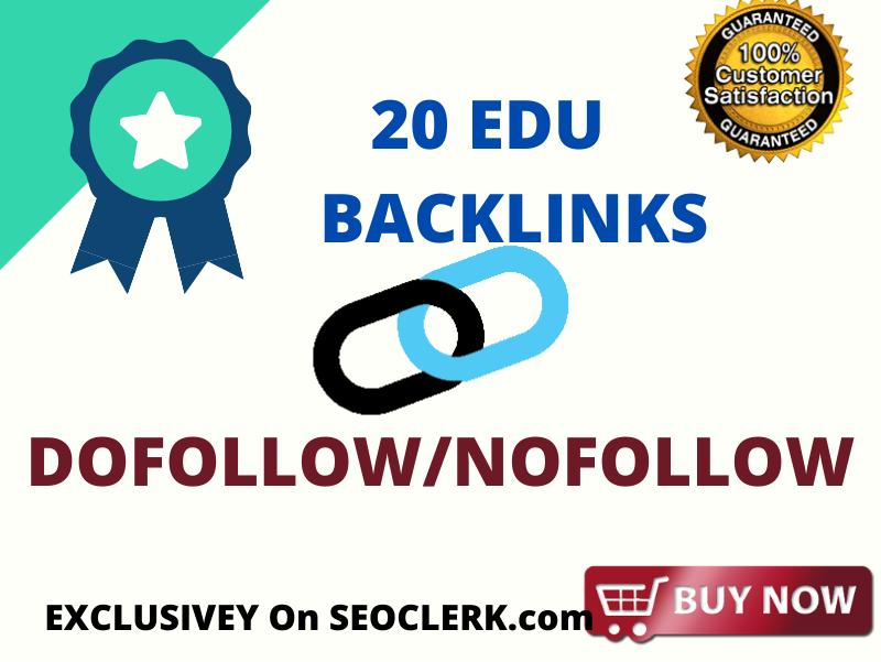 I will create 20 live EDU gov backlinks,  it is EDU backlink indeed its Real EDU Backlink