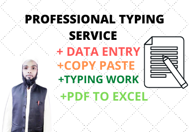 I will do data entry,  copy paste,  excel work for you