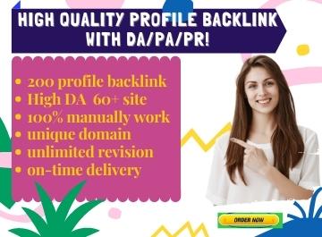 I will Build Manually 200 High DA Profile Backlinks.