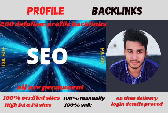 I wil create 200 dofollow profile backlinks on verified and no duplicated sites