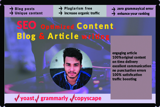 I will write unique content, blog post with attractive image