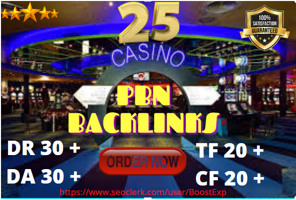 Create Powerful 25 PBN Backlinks for Casino,  Gambling and Poker + Homepage High DA Links