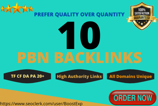 Create 10 Permanent PBN Backlinks on High Metrics Domains