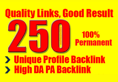 I will do 250 unique high domain authority SEO Profile Backlinks manually