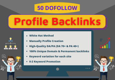 Get 50 Social Media Profile Backlinks on High DA/PA