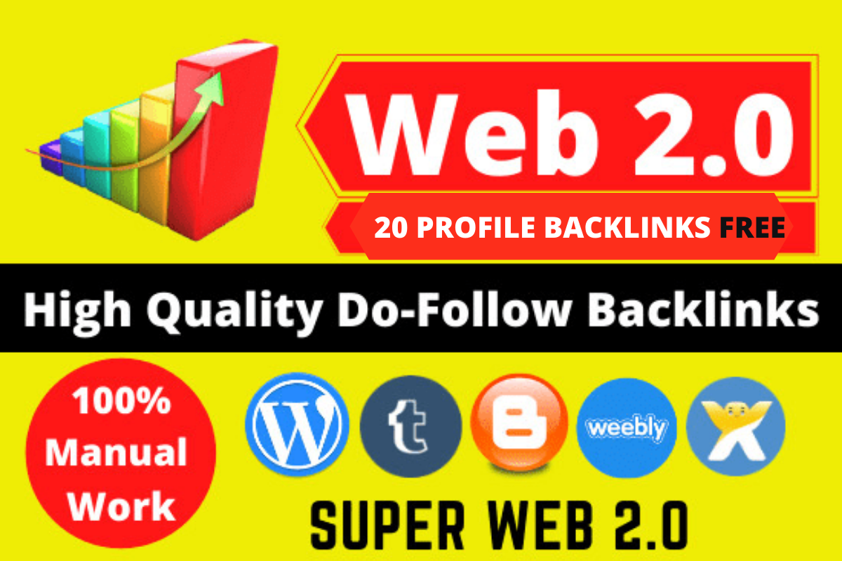 30 web 2.0 And 20 Dofollow Profile Backlinks rank your Website,  Google List Top