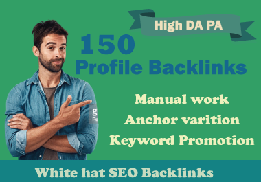 I will create 150 High Authority 90+ DA PA PR9 SEO Profile Backlinks
