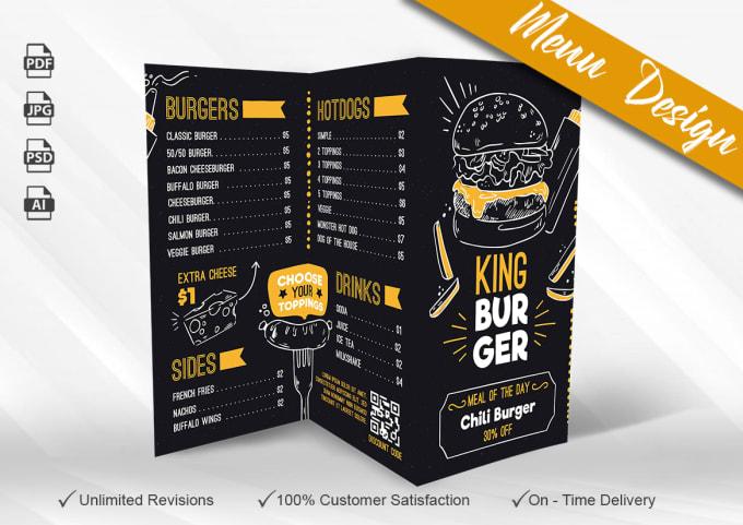 I will design professional & eye catching Food Menu, Food flyer,  restaurant flyer