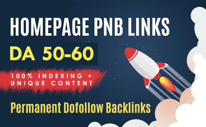 Create DA 55 permanent Dofollow Homepage pbn backlinks