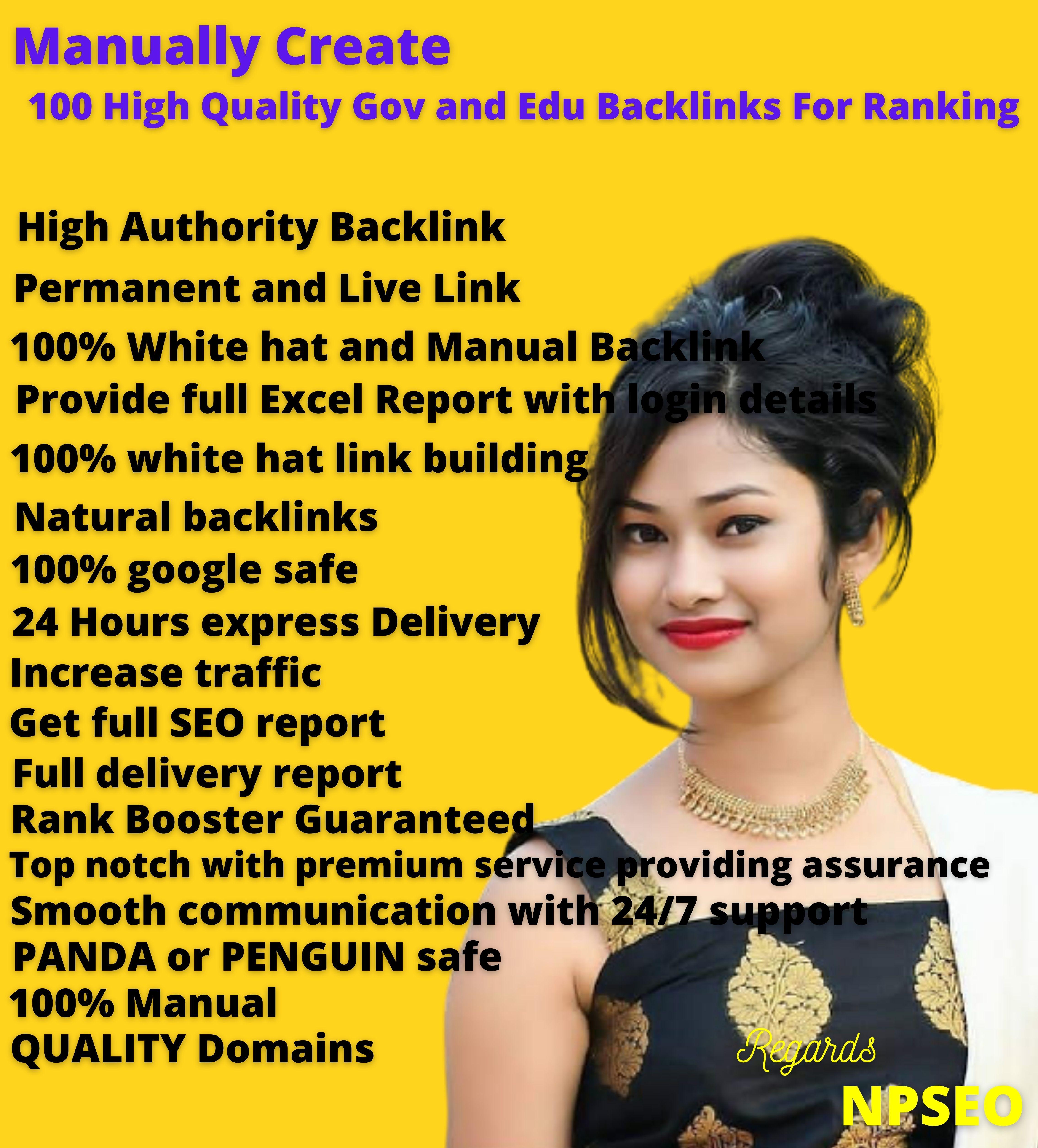 Manually Create 100 High Quality Gov and Edu Backlinks For Ranking