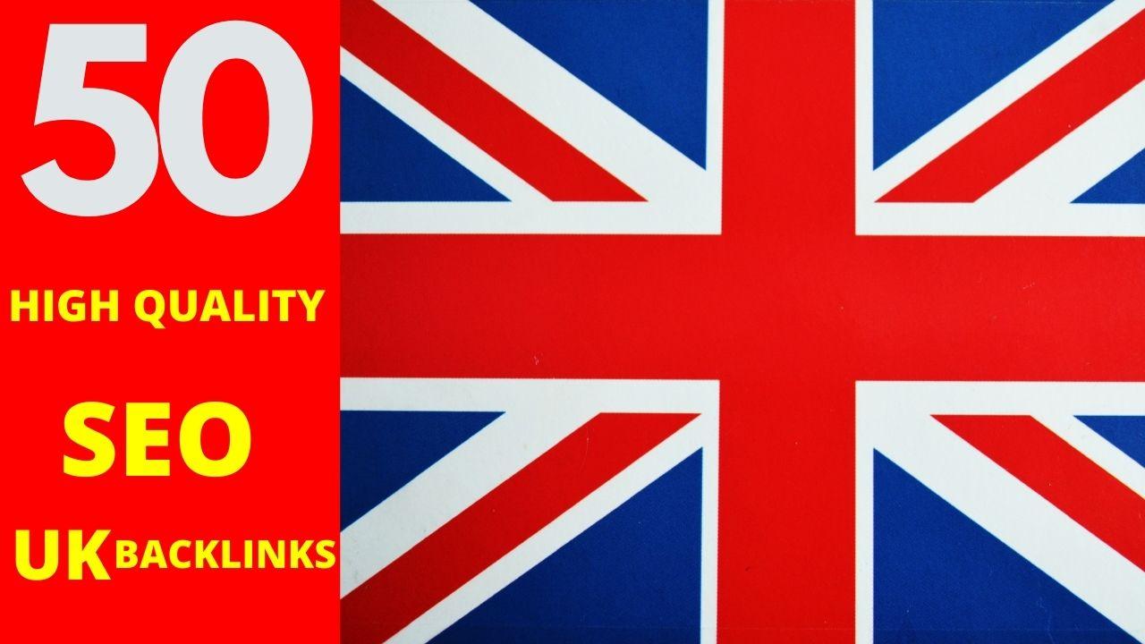 create 50 permanent UK backlinks with high DA sites