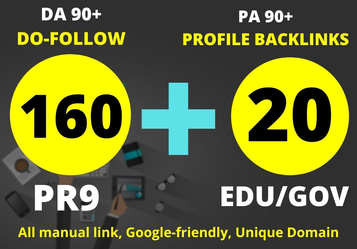 160 PR9 + 20 Edu/Gov High PR Safe SEO Authority Profile Backlinks To Boost Your Site Google Ranking