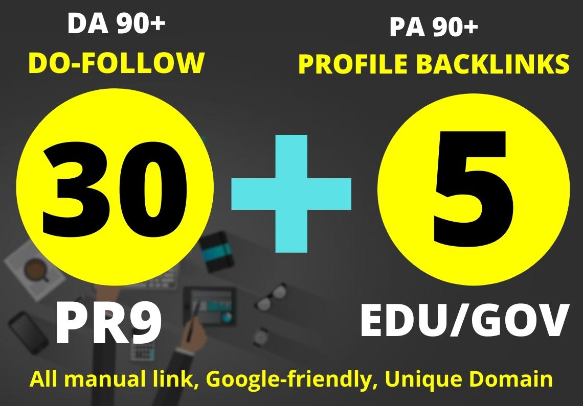 I Will Create 30 Pr9 + 5 Edu/Gov Dofollow DA90+ SEO Profile Backlinks