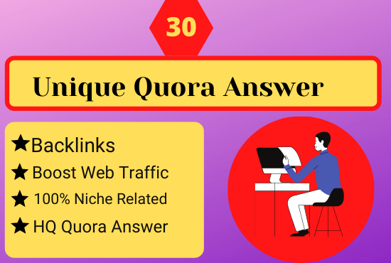 I Will provide 30 Quora question answer with backlinks to promote your website