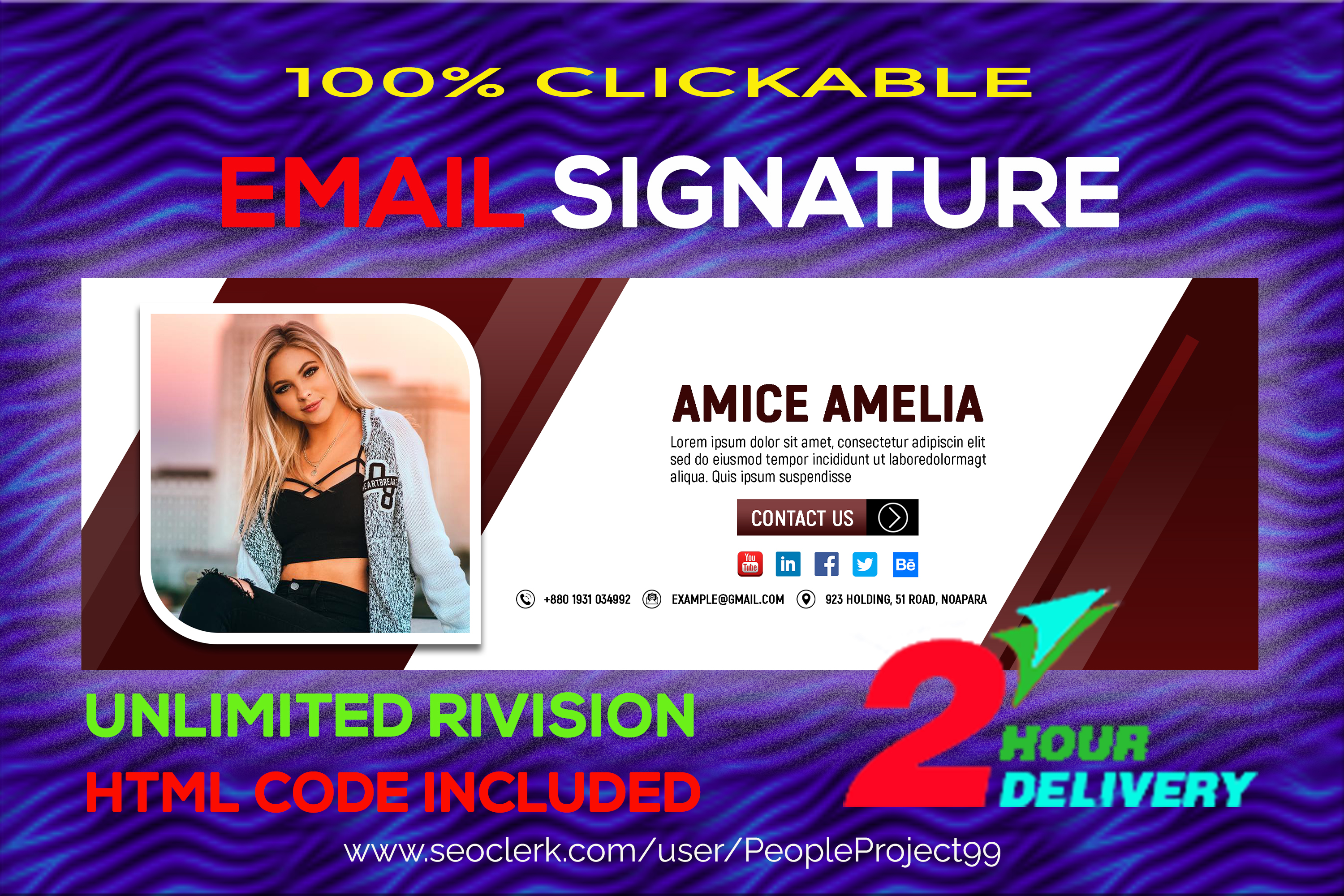 I will be design your interactive HTML email signature in 2 hours