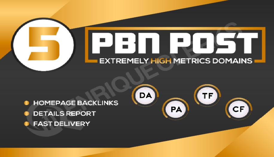 Build 5 PBN DA 30+ With 0 Spam Score Homepage Backlinks