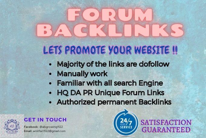 I will generate HQ DA PR SEO Forum Posting Backlinks manually