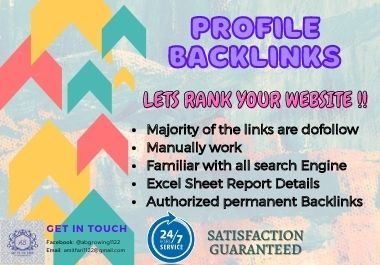I will raise a profile by manually dofollow whitehat HQ da pr SEO backlinks