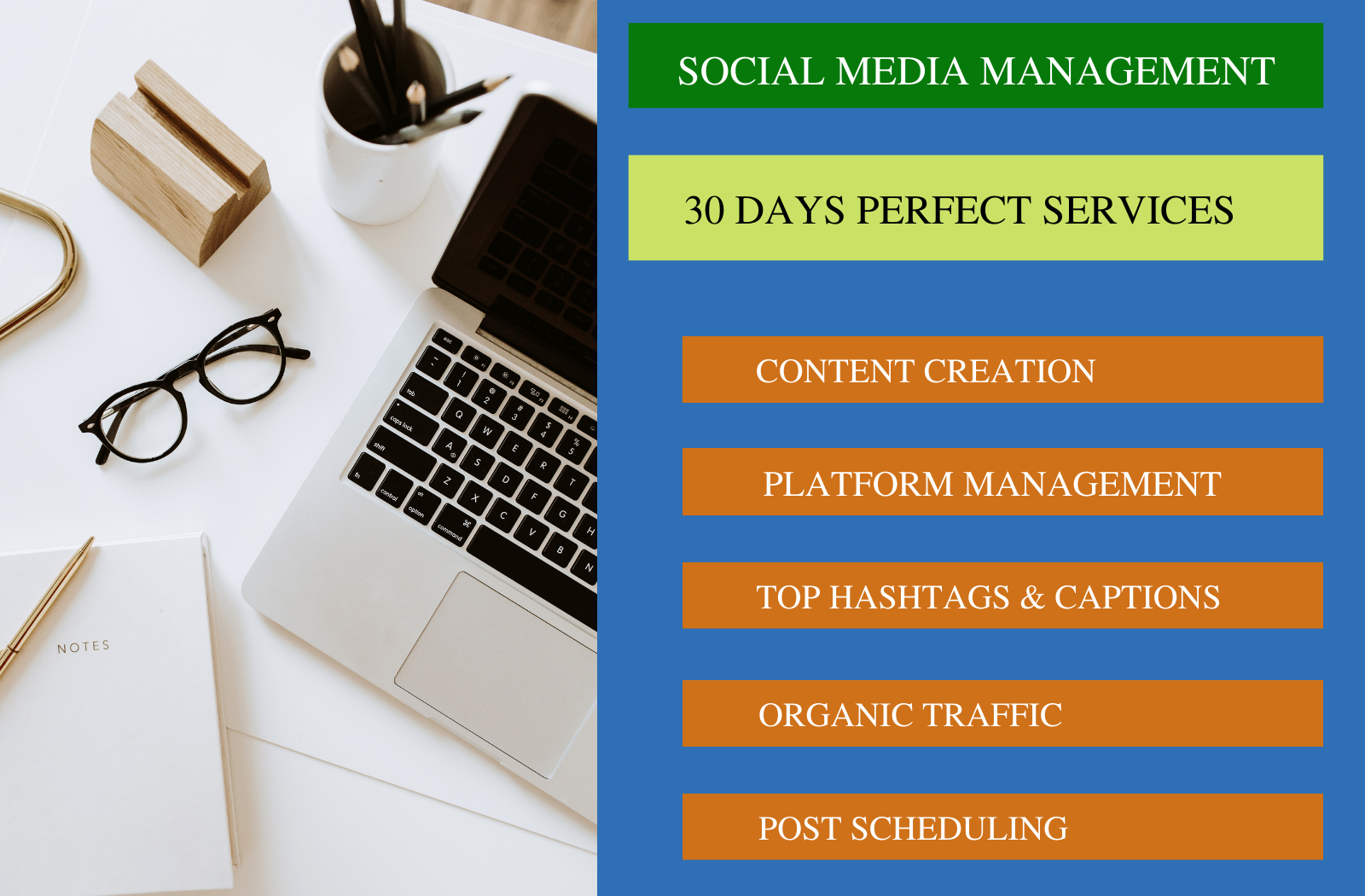 I will be your monthly basis social media manager and content creator