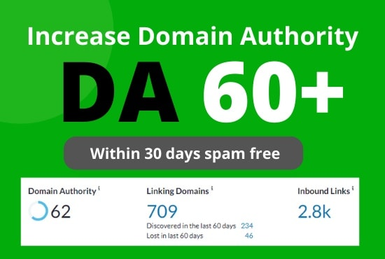 I will increase domain authority moz da 60 plus backlink by white hat SEO