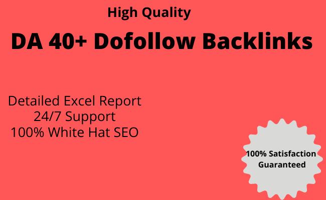 high quality dofollow SEO backlinks da 40 plus white hat link building SEO Service
