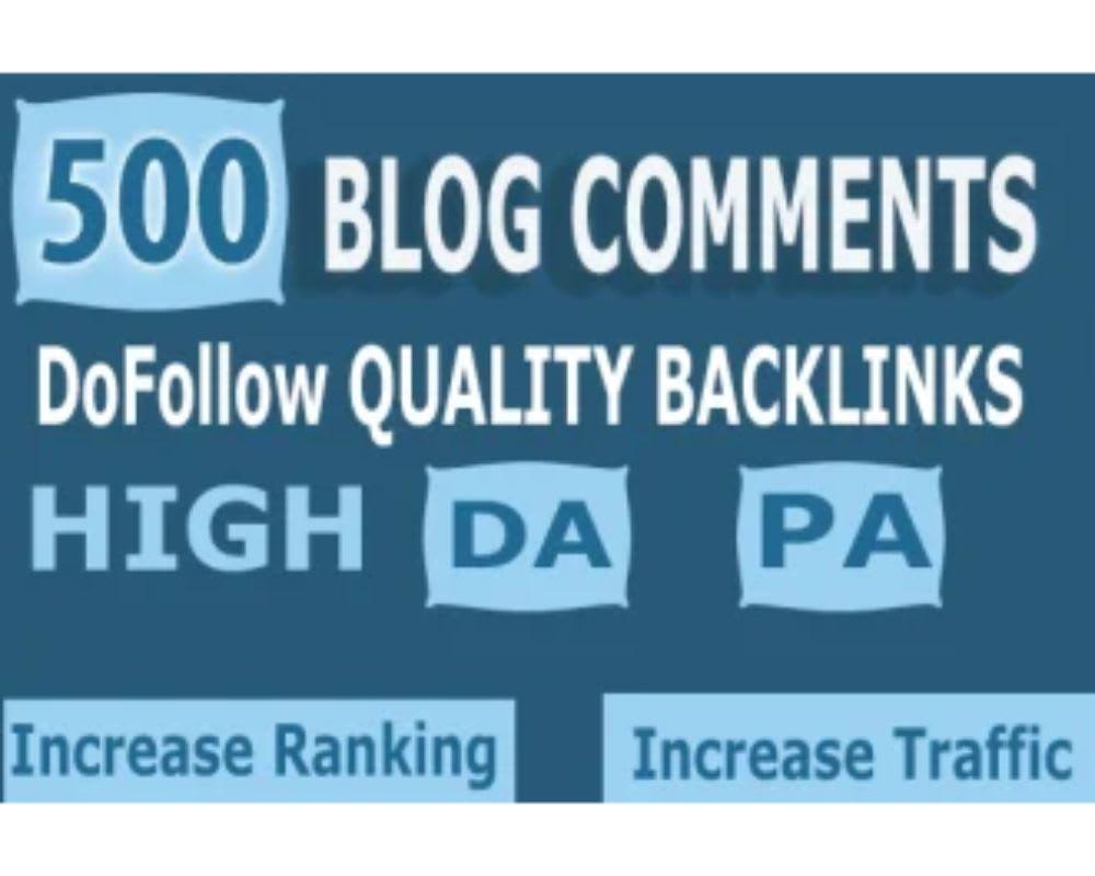 I will do 500 blog comment high da pa dofollow backlinks