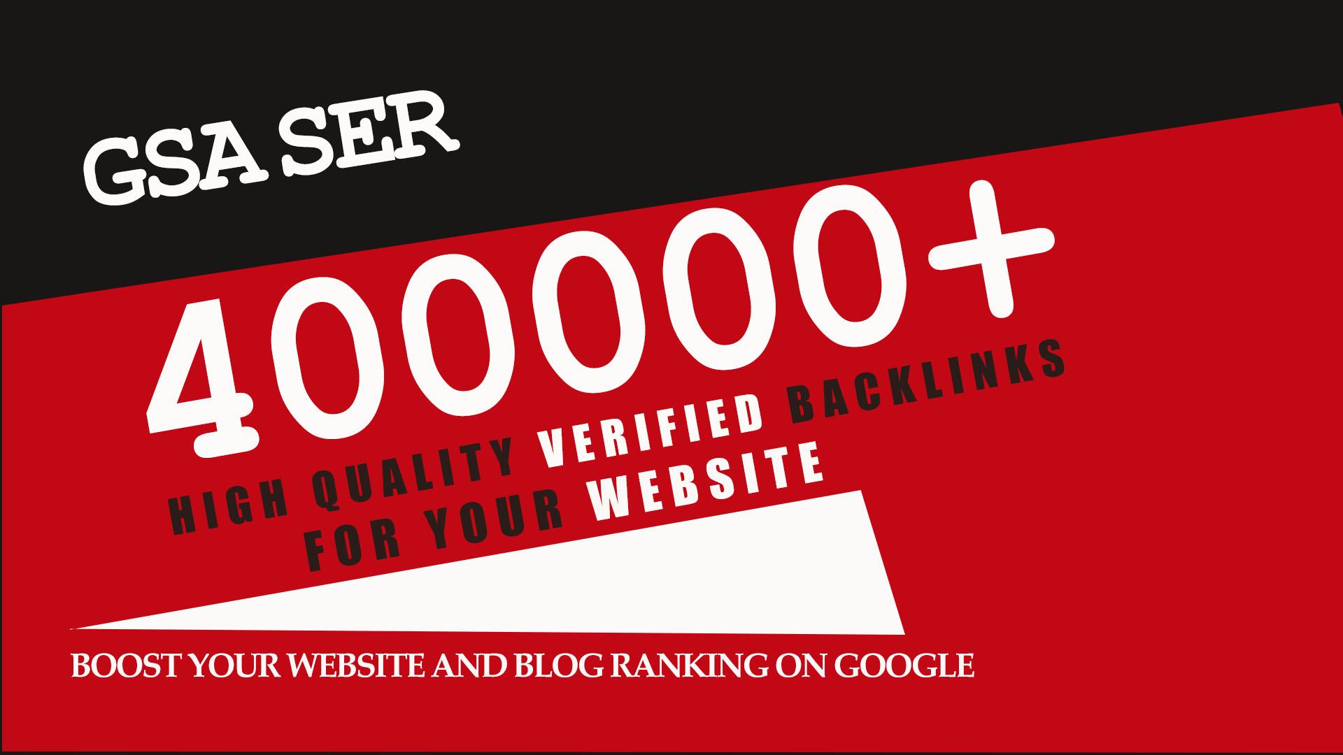 I will do 400K gsa ser backlinks for ranking your website