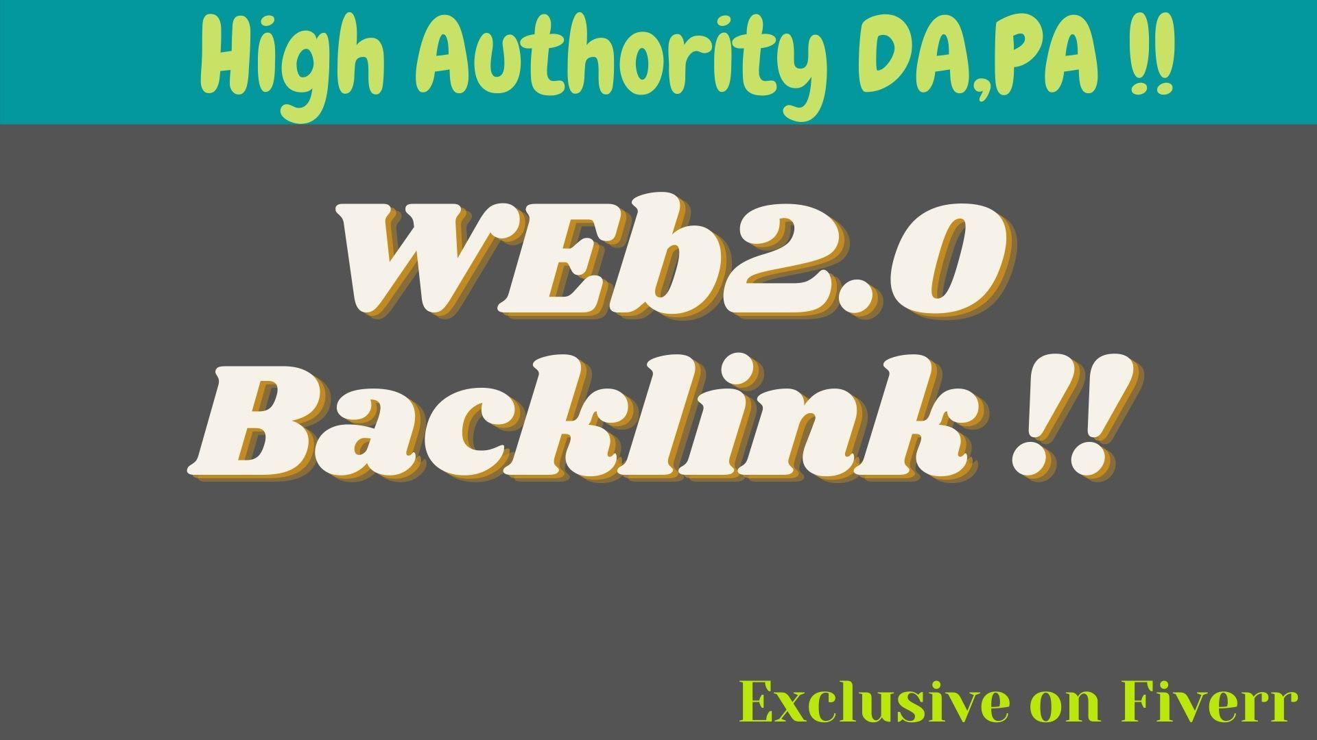 I will provide high quality web2 0 backlink