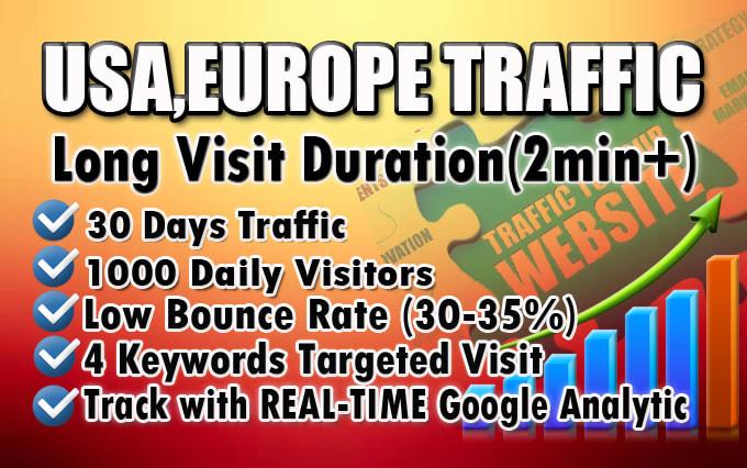 I will bring real organic USA web traffic, long visit 2 min+