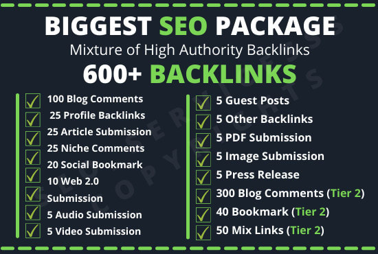 I do off page SEO package 600 backlinks