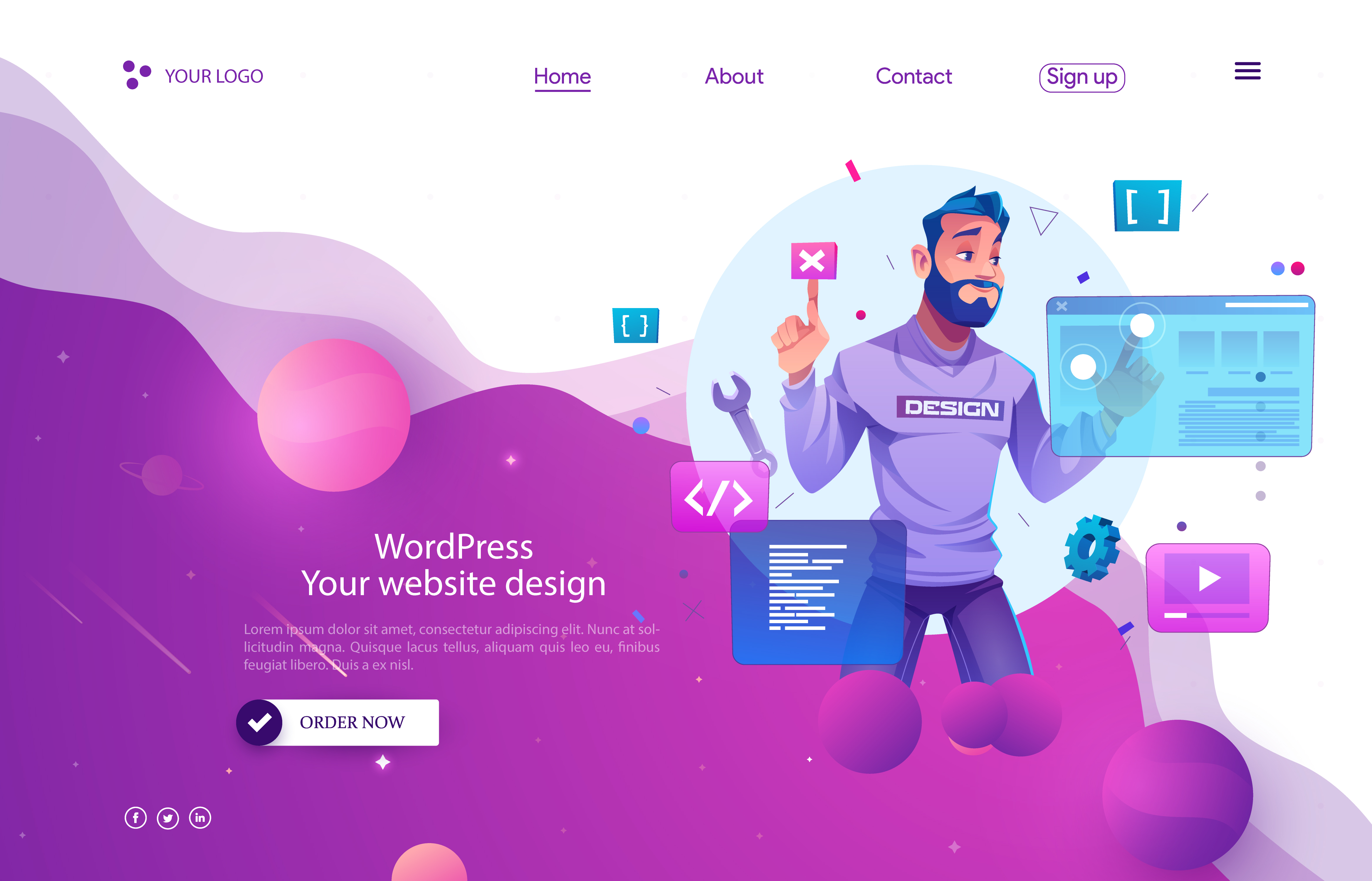 I will create a landing page design by WordPress